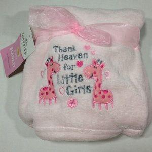 Soft Pink Giraffe & Flowers Embroidered Blanket